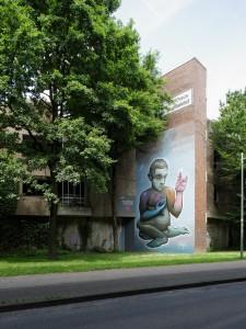 Mural by Malik Heilmann on parking lot, Bielefeld / Germany